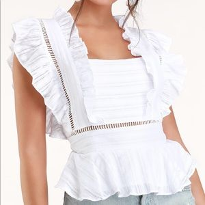 White Ruffled Square Neck Top